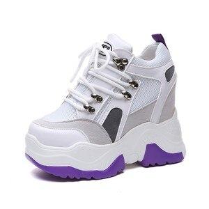 Image 3 - ¡Novedad de 2019! Zapatos de plataforma informales para Mujer, zapatos de malla con tacón de cuña transpirables, zapatillas de deporte de suela gruesa de 10CM para otoño, Deportivas para Mujer