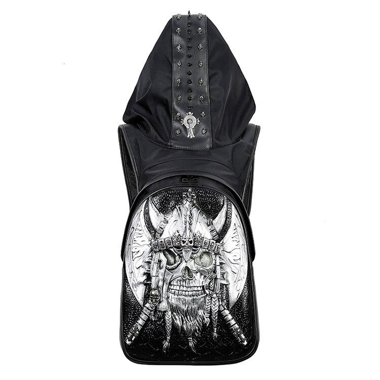 2018 Creative Hat bag 3D night light Metal skeleton Pattern man Pu computer Bags Double shoulder bag Men Backpacks цена 2017