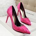 """2016 New Women Pumps Thin Heels Fashion Fine Heels Shallow Pointed Solid Color """"H"""" Single Shoes Heeled Female Shoes G608"""