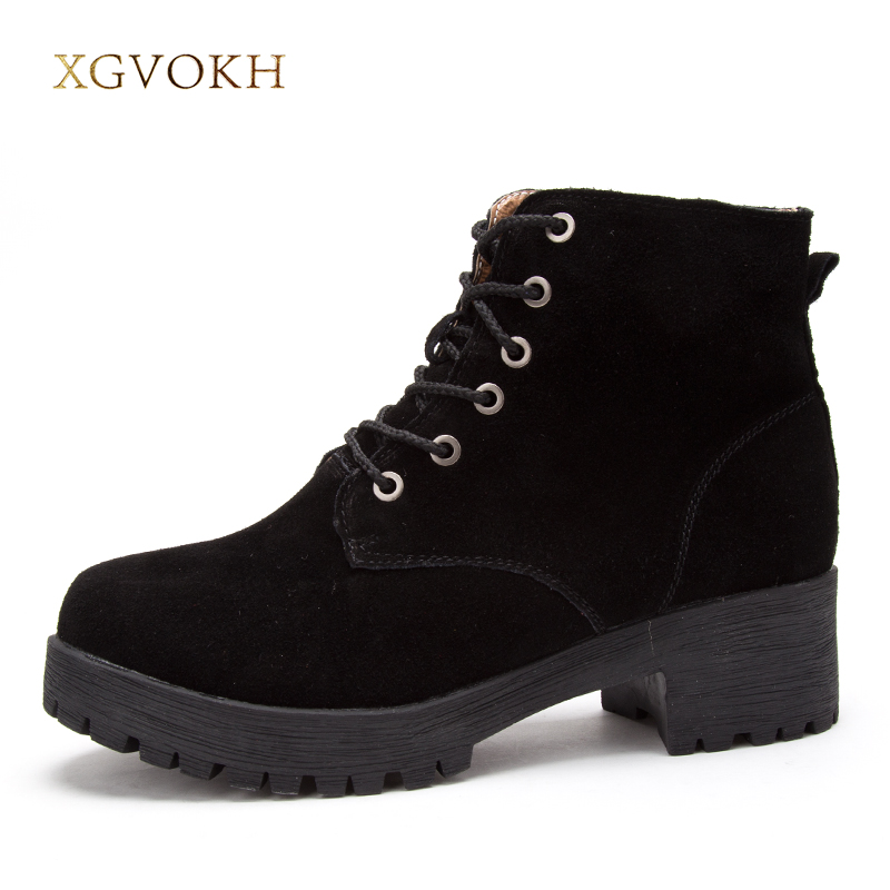XGVOKH Ankle Boots Women Winter Warm Cow Suede Leather High Quality Shoes Woman Fashion Lace Up Boot Short Boots Height 2015 winter autum women boots size 35 43 softs high heels fashion quality motorcycle shoes woman leather ankle boot s 67