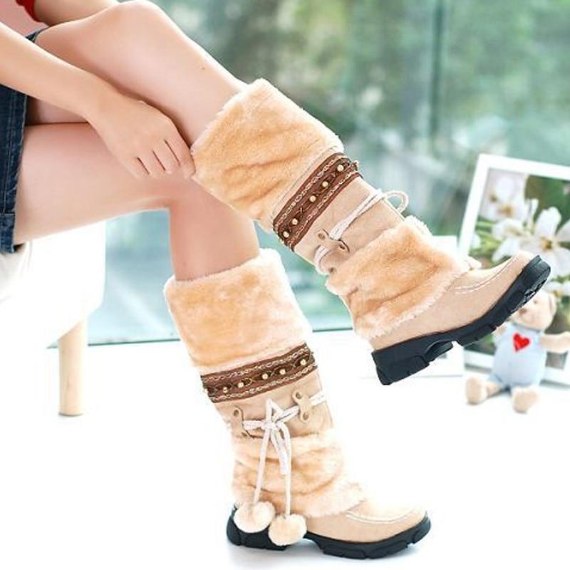 ФОТО New winter women snow boots slip on mid-calf flats warm shoes fashion comfortable skid 4 colors fur women boots size 35-40