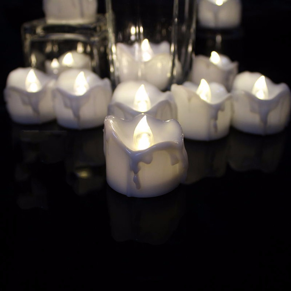 Pack of 6 or 12 Yellow Flickering light Timer Candles,Battery Tealight With Timer,Flickering Flameless Tea Light,Electric Candle