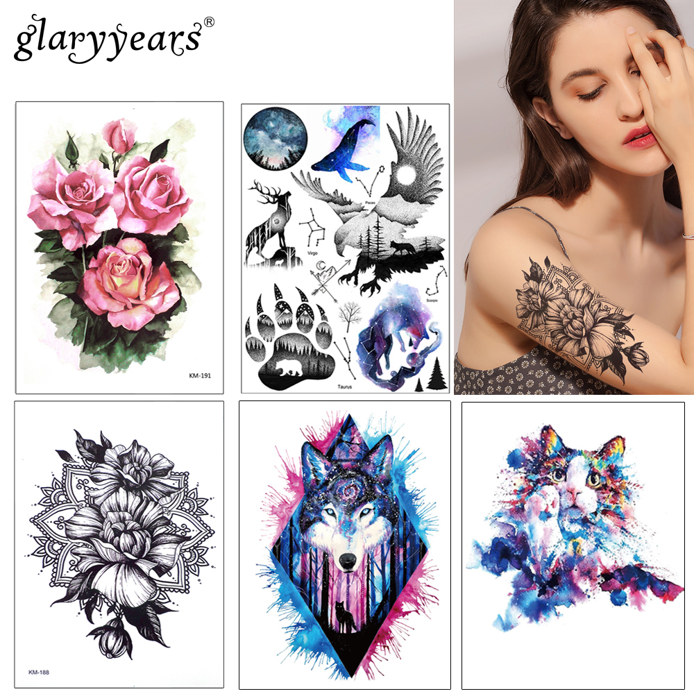 1pc DIY Body Art Temporary Tattoo KM-083 Colorful Mysterious Drawing Horse Butterfly Decal Waterproof Tattoo Sticker Watercolour rysunek kolorowy motyle