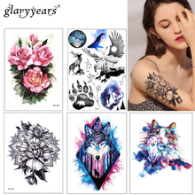 1pc DIY Body Art Temporary Tattoo KM-083 Colorful Mysterious Drawing Horse Butterfly Decal Waterproof Sticker Watercolour