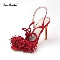 Roni Bouker Best Sale Ankle Strap Fashion High Heels Kid Suede Leather Shoes Women Fringe Lace Up Sandals Plus Size 42 Drop ship