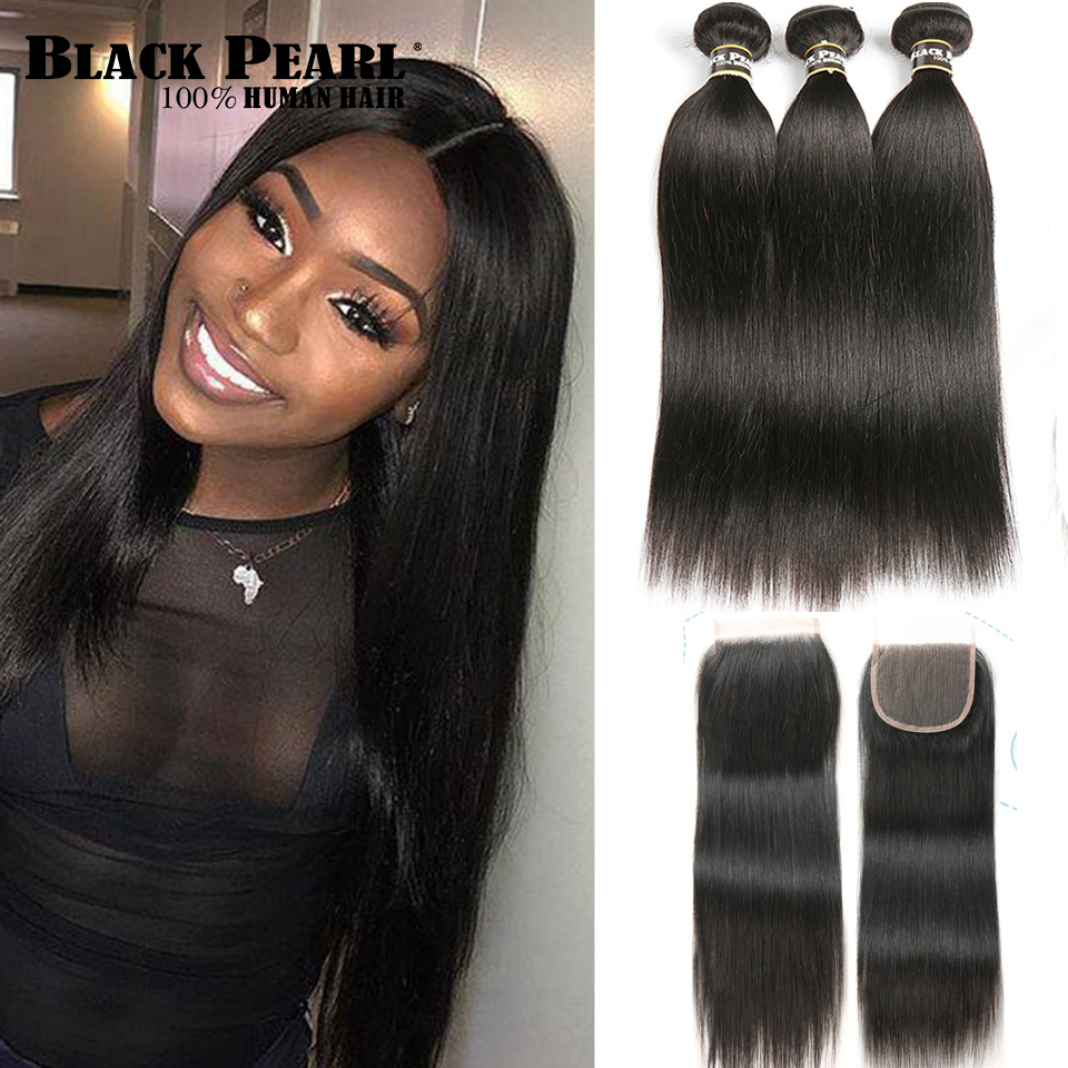 Black Pearl Pre Colored 3 Bundles with Closure Straight Human Hair Bundles with Closure Brazilian Hair