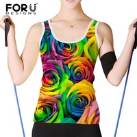FORUDESIGNS Women Tank Tops Bright Rose Floral Prints Ladies Short Tops Sexy Vest Plus Summer Casual