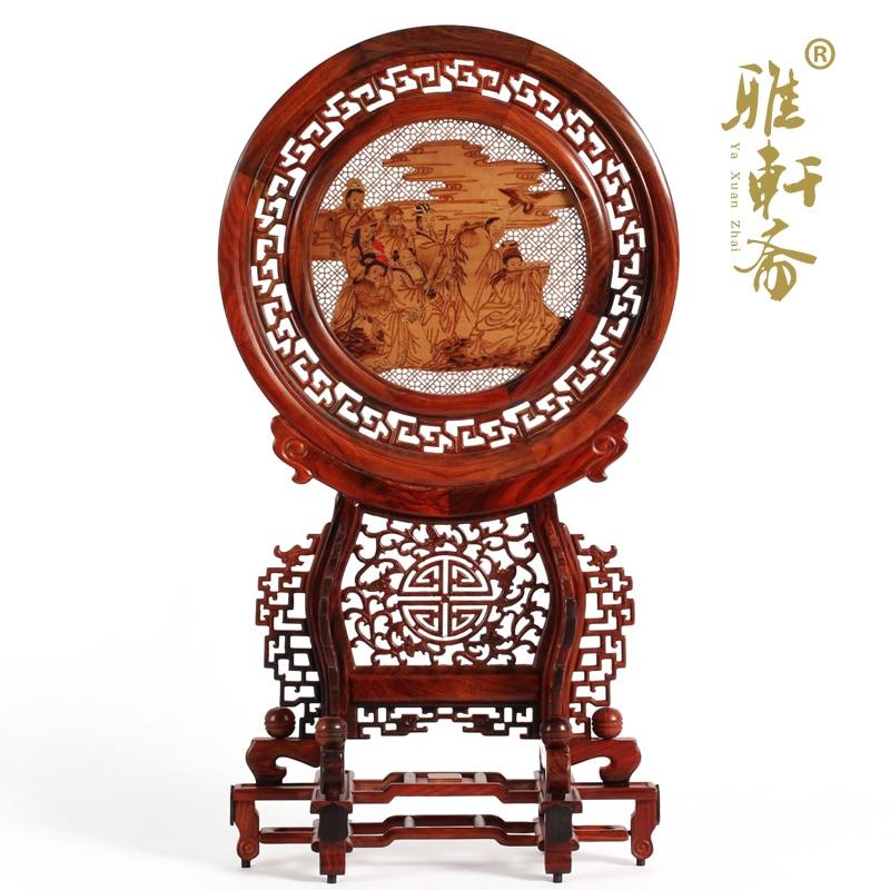Sculture in legno di palissandro e regalo ornamenti in legno di sandalo schermo tavolo rotondo schermo placca