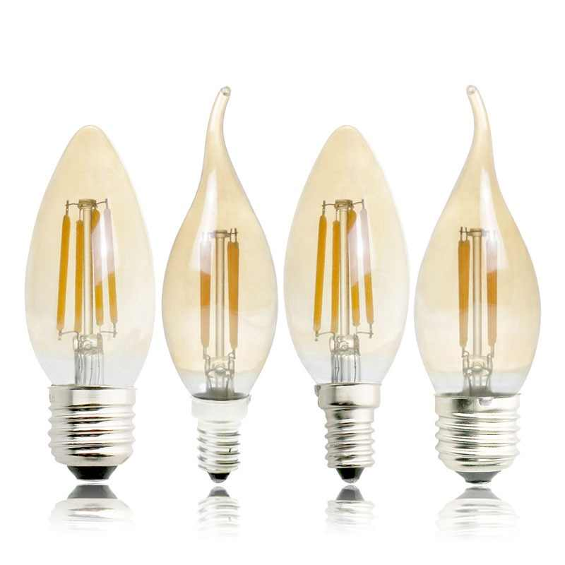 E27 E14 E12 E17 2W 4W 6W 220V 110V C35 Dimmable Retro Filament LED Bulb Lamp Candle Light Chandelier Night Light For Indoor Home