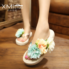 XMISTU influx of large size fashion girls flowers flip flops slope with a thick crust lovely vacation beach sandals and slippers