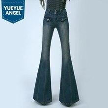 c095dcd9a1 Retro de las mujeres Plus tamaño de cintura alta Vaqueros Slim Mujer  campana inferior Bootcut pantalones