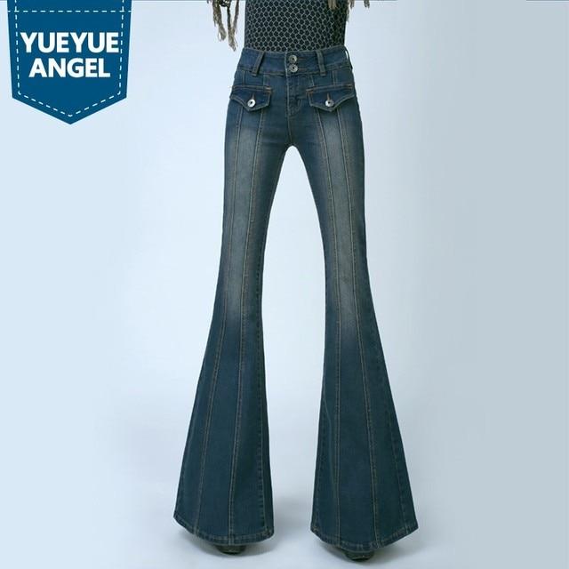 8e1975ee8da Retro Women Plus Size High Waist Slim Fit Jeans Female Bell Bottom Bootcut  Trousers Fashion Ladies Wide Leg Jeans Pants Pockets