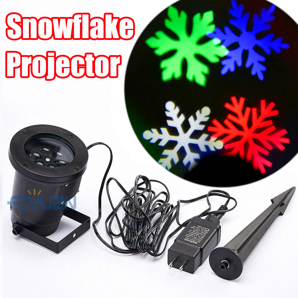 Outdoor Christmas Snowflake Light Projector Moving Effect Show RGB LED Snow Lights Christmas Decorations For Home