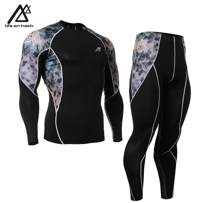 купить Life on Track Men Tracksuits Tights Set Male Jersey Cycling Quick-Drying Sportswear Fitness Bike Clothing Sports Fitness онлайн