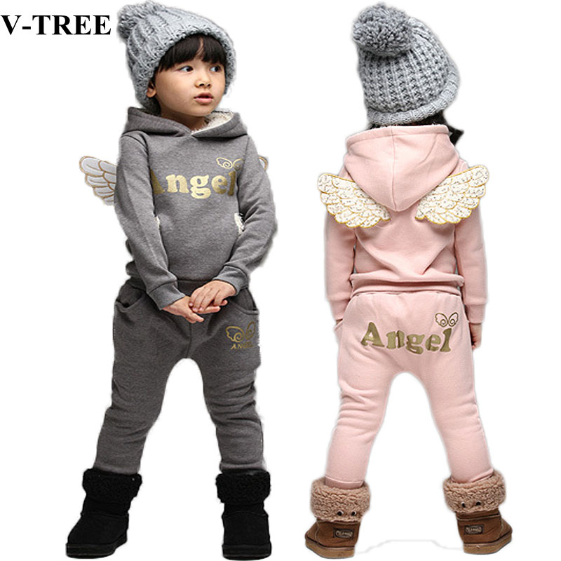 V-TREE Children Clothing Set Fleece Sports Suit For Boy Winter Toddler Suits For Girls Wings Kids Tracksuit Baby School Costume