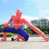 Hot sale squatted inflatable spiderman with blower advertising cartoon for events decoration