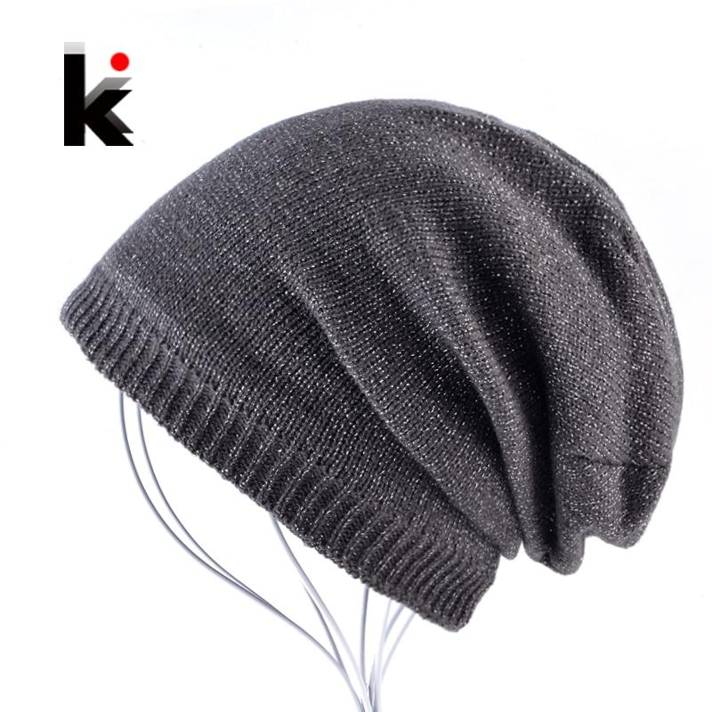 Autumn And Winter Bonnet Beanies Hat Women Fashion Flashing line Knitted Skullies Beanie Cap Men Add Velvet Warm Toucas Inverno