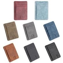 купить Slim RFID Blocking Leather Wallet Credit ID Card Holder Purse Money Case for Men Women 11.5x8x0.5cm дешево