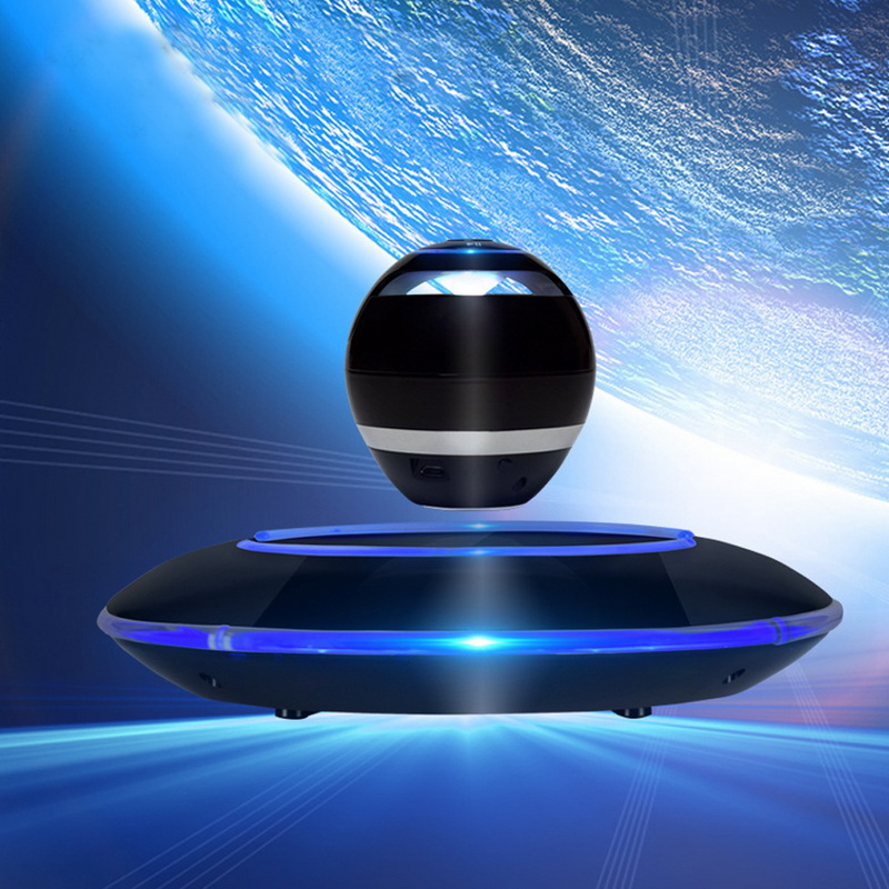 Magnetic Floating Levitation Portable Wireless Bluetooth LED Woofer Speaker Mini Maglev DIY Speaker for PC Android IOS SD Card