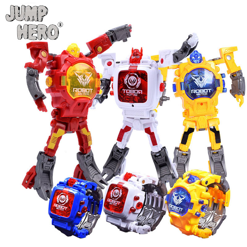 Trasformation Wristwatch Toy Children Sports Cartoon Watches Kids Xmas Gifts Cute Boys Robot Transformation Toys Distortion #Z
