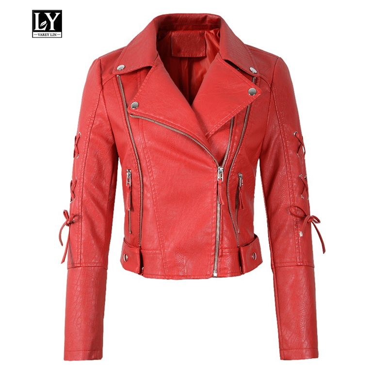 Ly Varey Lin Women Pu   Leather   Jacket Coat Rivet Zipper Motorcycle Faux Soft   Leather   Punk Overcoat Lady Red Black White Outerwear