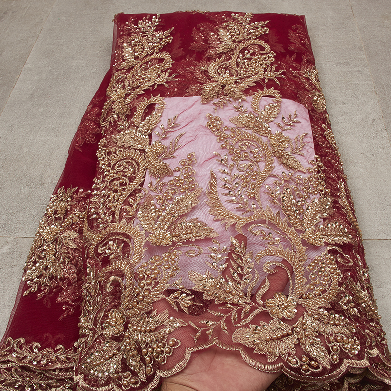 3D Luxury Lace Fabrics Red Handmade Mesh Fabric Embroidered Tulle Lace For Dresses MR2577B