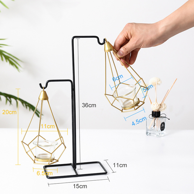 Novelty Nordic golden metal candle holders 6 styles modern simple candles for bedroom holiday living room restaurant washingroom 2
