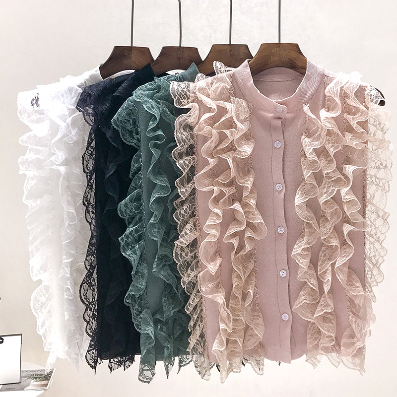 Sweet Lace Patchwork sleeveless Ruffles Shirts Knitted Pleated Blouse O-Neck Vest Sexy Sleeveless Female Blusas Tank Tops