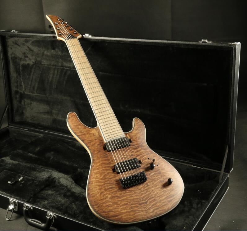 Stock haute qualité 8 cordes guitare électrique cou à travers le corps 5 pièces finition lasure bois 24F verrouillage accordeur Daddario cordes couette M