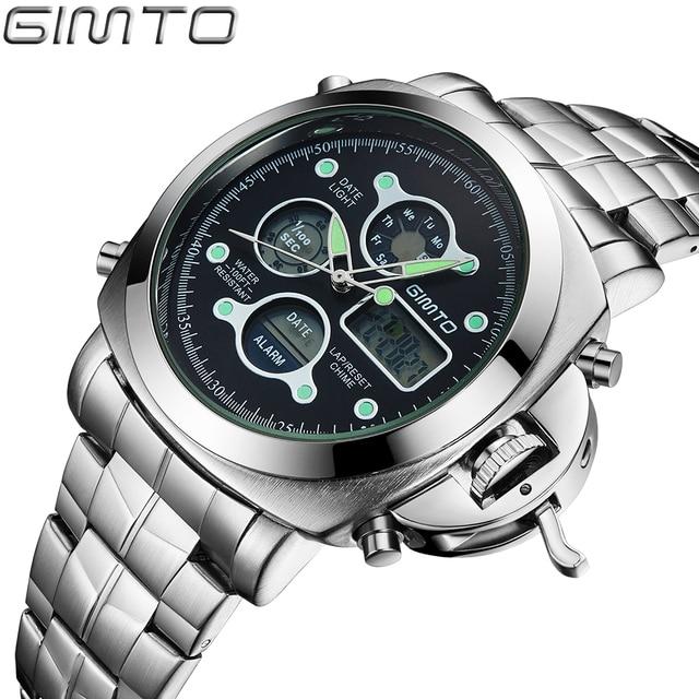 Male Fashion Sport Military Wristwatches 2017 New GIMTO Watches Men Luxury Brand 5ATM 50m Dive LED Digital Analog Quartz Watches