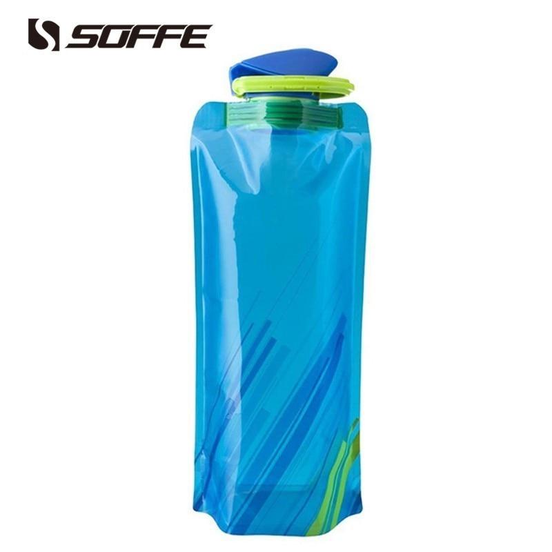 4 PC Flexible Collapsible Foldable Reusable Water Bottles Bag Camp Gym BPA Free