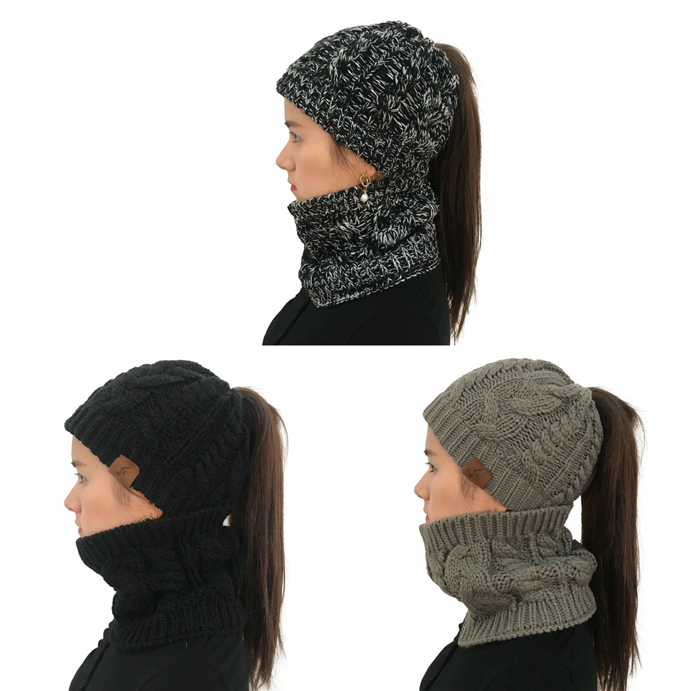 Fashion Ponytail Beanie Hat Women Hat Scarf Set For Girl Stretch Knitted Crochet Beanies Winter Women's Cap Lady Messy Bun