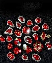 10Pcs/Lot 3D Alloy Nail Art Charm Red Diamond Rhinestone 7*13mm Charms Rhinestones For Glitter DIY Decorations ACC