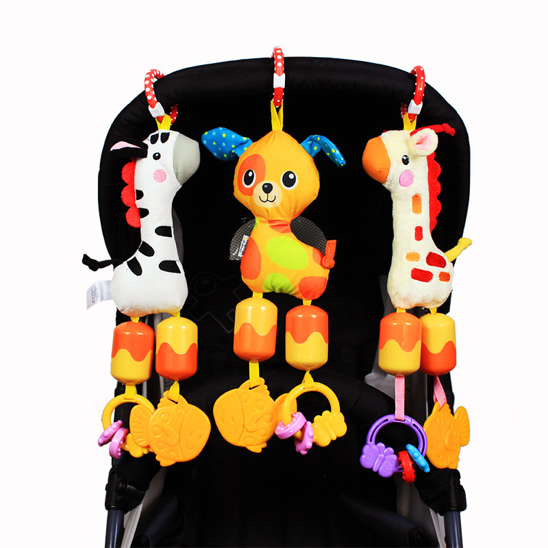 Baby Rattles Soft Plush Toy Sound Teether Wind chime Cute Bear puppy Elephant Toy Car Ring Bell Crib Infant Baby Doll gift