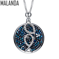 MALANDA Brand 2017 Fashion Original Crystals From SWAROVSKI Maxi Round Necklaces Pendants For Women Party Wedding Jewelry Gift