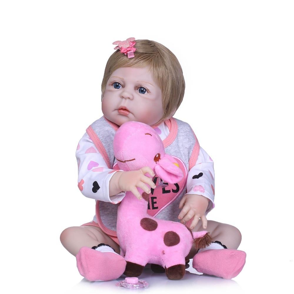 NPKCOLLECTION 55cm Full Body Silicone Reborn Girl Baby Doll Toys Realistic Newborn Toddler Babies Doll Birthday Gift Present