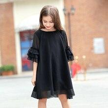 십대 소녀 여름 드레스 2020 어린 소녀 쉬폰 드레스 검은 색 아이 옷 vestido 크기 45 6 7 8 9 10 11 12 13 14 15 년