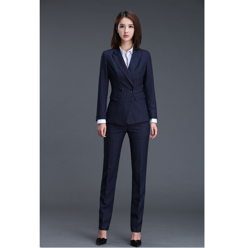 Formel Slim Black Costume Deux blue breasted Double Bureau piece Suit D'affaires Pantalon De Femmes Rayé veste OpqUH