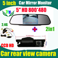 2.4 G inalámbrica del revés del coche cámara para Nissan March Renault logan Sandero retrovisores de coches parking cámara y 5 pulgadas monitor del espejo