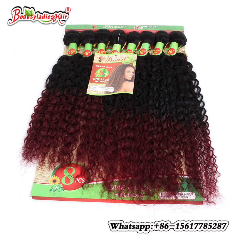 Mongolian Kinky Curly Hair Crochet Hair Extensions 8Pieces/lot afro kinky curly hair tangle free brazilian deep curly hair