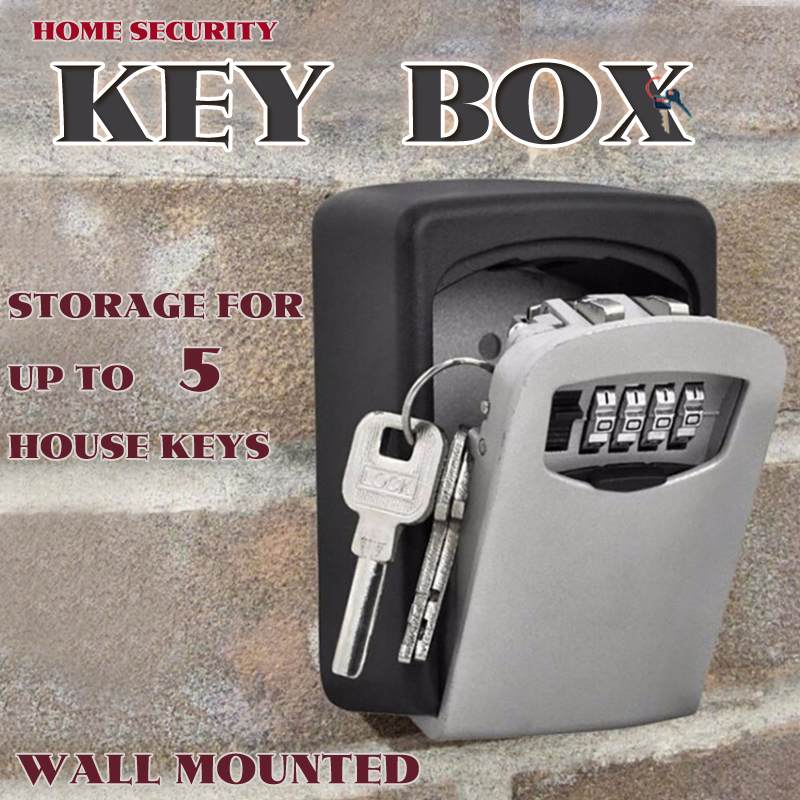 Big Size Aluminum Alloy Key Storage Lock Box 4-Digit Combination Lock Wall Mounted Key Safe Box Security Key Holder