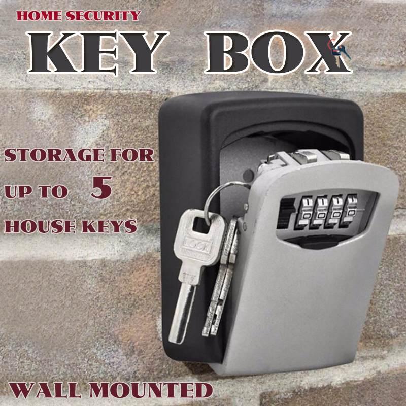 Safurance Big Key Safe Box Outdoor Key Lock Box Aluminium Wall Mounted Waterproof 4 Digit Combination Password