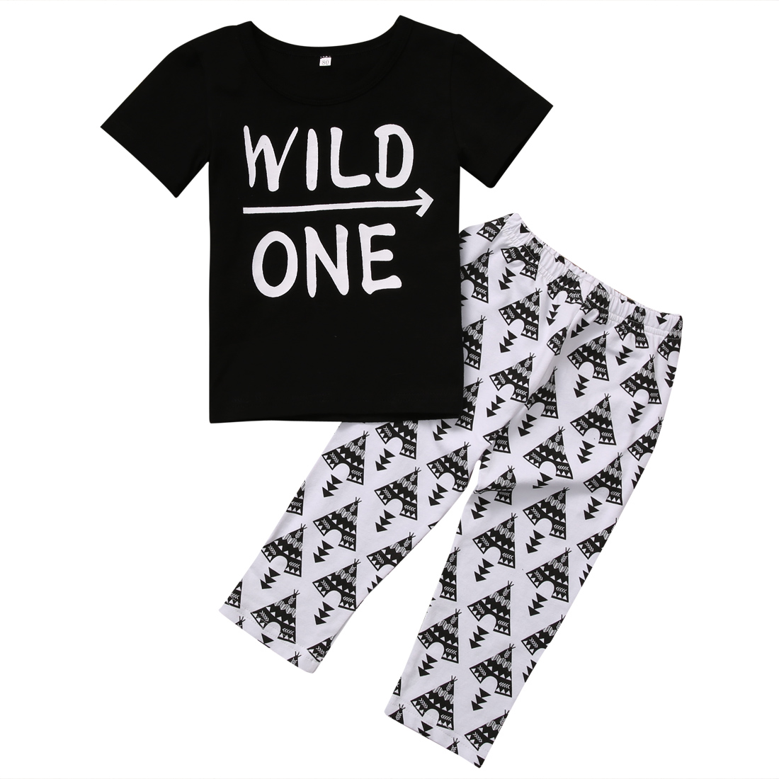 PUDCOCO 2PCS Set Newborn Baby Boy Clothes Casual T Shirt Tops+Long Pants Outfits WILD ONE Print Black Cotton 0-24M newborn kids baby boy summer clothes set t shirt tops pants outfits boys sets 2pcs 0 3y camouflage