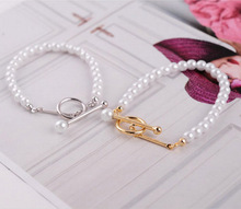 Trendy han edition celebrity with artificial imitation pearl bracelet freshwater pearl white color, gift for women