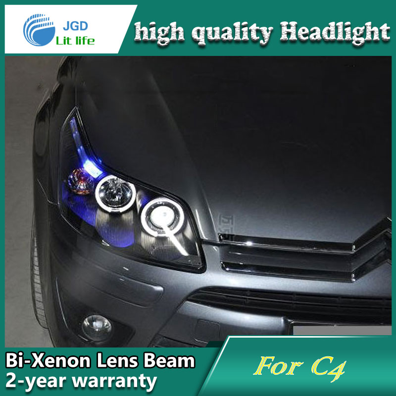 Car Styling Head Lamp case for Citroen C4 Headlights LED Headlight DRL Lens Double Beam Bi-Xenon HID Accessories hireno headlamp for 2016 hyundai elantra headlight assembly led drl angel lens double beam hid xenon 2pcs