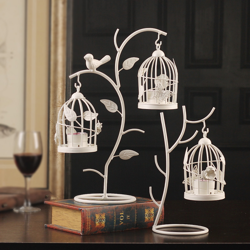 European Style tree Branch Birdcage Candle Holder iron Lantern model living room Creative Candle Stick Home Decoration