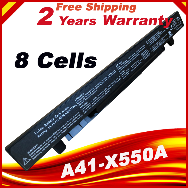 HSW 8 Cells 5200mAh High Capacity Laptop Battery A41-X550 A41-X550A For ASUS X550L X450 X450C R409CC X552E K5 X550V