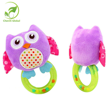 0-3 Y Baby Rattles Hand Bell Toy 5 Style Owl Bird Chicken Animals Plush Baby Rattle Happy Monkey Gift Cradle Infant Toys