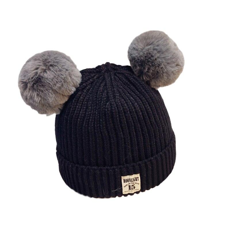 2017 Winter Pom Pom Hats For Kids Dual Fur Pompom Children Caps Wool Knitted Baby Boys Girls Beanie Hats Warm Skullies Bonnet