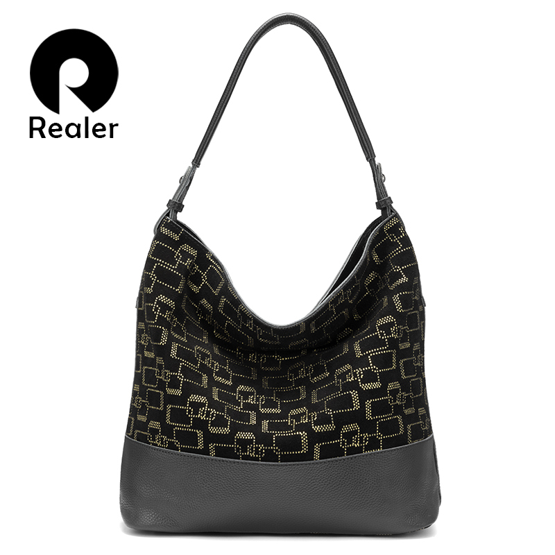 REALER female bag genuine leather bags for women large tote bag hobos patchwork shoulder handbag ladies